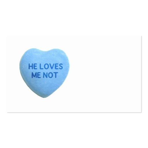 He Loves Me Not Blue Candy Heart Business Card