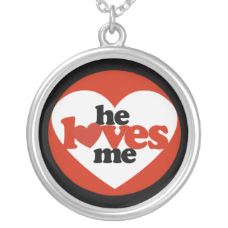 He Loves me Round Pendant Necklace