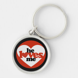 He Loves me Silver-Colored Round Key Ring