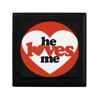 He Loves me Small Square Gift Box