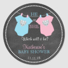 He or She Gender Reveal Chalkboard Baby Shower Classic Round Sticker