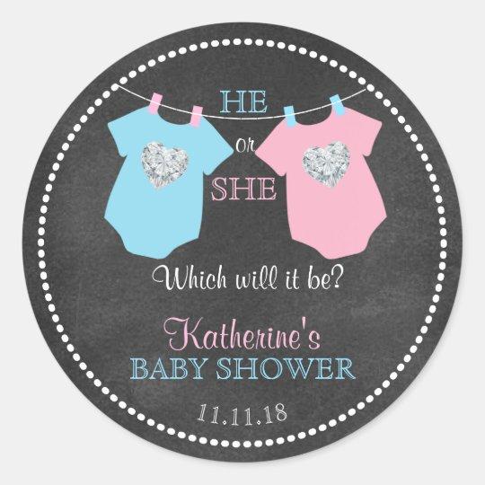 He or She Gender Reveal Chalkboard Baby Shower