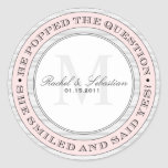 HE POPPED THE QUESTION FAVOR LABELS ROUND STICKER