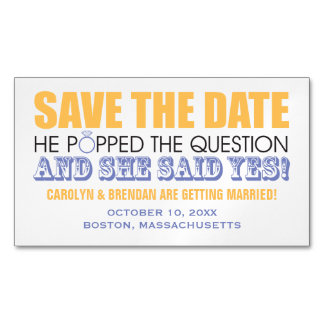 He Popped the Question | Wedding Save the Date Magnetic Business Cards