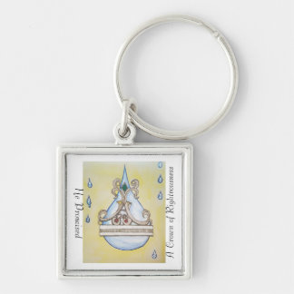 He Promised a Crown of Righteousness Silver-Colored Square Key Ring