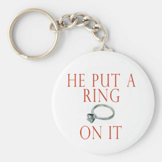 He Put a Ring On It Bride Basic Round Button Key Ring