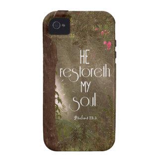 He restoreth my Soul Bible Verse Case-Mate iPhone 4 Case