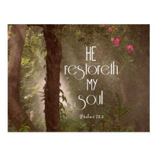 He restoreth my Soul Bible Verse Postcard
