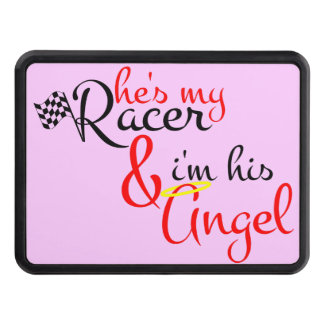 He s My Racer and I m His Angel Trailer Hitch Cover