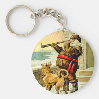 He Sees You When You're Sleeping Vintage Santa Basic Round Button Key Ring