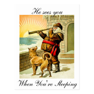 He Sees You When You're Sleeping Vintage Santa Postcard