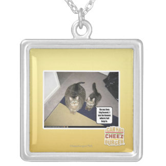 He sez hes big boned. silver plated necklace