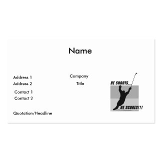 he shoots he scores hockey design pack of standard business cards