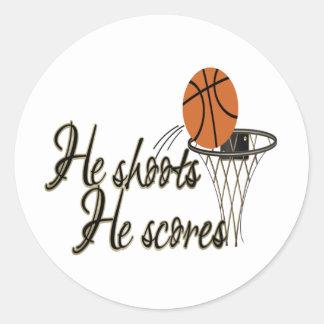 He Shoots...He Scores Round Sticker