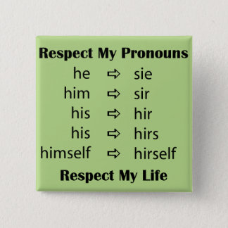 He -> sie 15 cm square badge