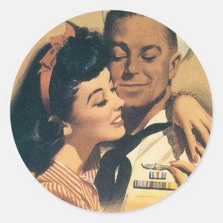 """He Volunteered For Submarine Service"" Classic Round Sticker"