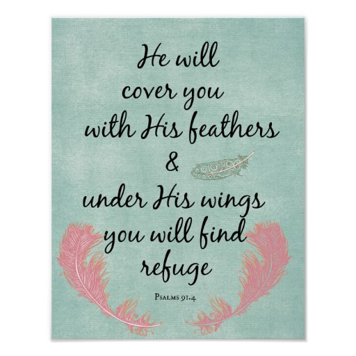 He will cover you with His feathers Bible Verse Poster