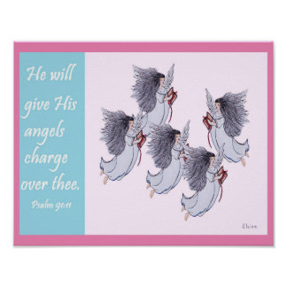 He Will Give His Angels Charge Over Thee GIRL Poster