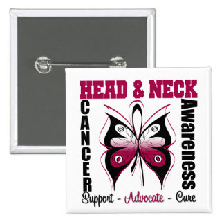 Head and Neck Cancer Awareness Butterfly 15 Cm Square Badge