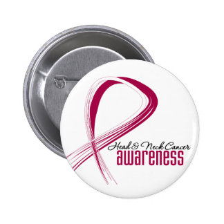 Head and Neck Cancer Awareness Grunge Ribbon 6 Cm Round Badge