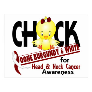 Head And Neck Cancer Chick Gone Burgundy White 2 Postcard