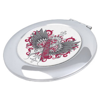 Head and Neck Cancer Cool Awareness Wings Makeup Mirror