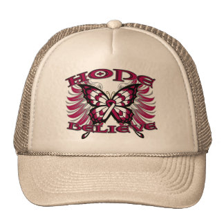 Head and Neck Cancer Hope Believe Butterfly Mesh Hat