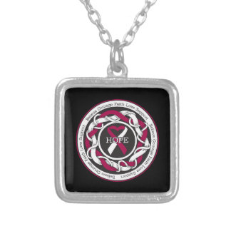 Head and Neck Cancer Hope Intertwined Ribbon Square Pendant Necklace