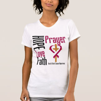 Head and Neck Cancer Hope Love Faith Prayer Cross Tshirt