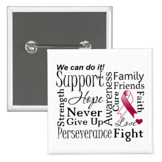 Head and Neck Cancer Supportive Words 15 Cm Square Badge