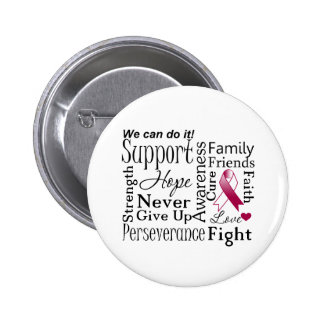 Head and Neck Cancer Supportive Words Pinback Button