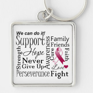 Head and Neck Cancer Supportive Words Keychain