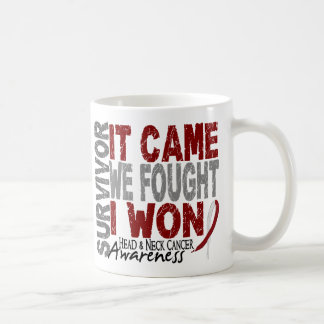 Head and Neck Cancer Survivor It Came We Fought Basic White Mug