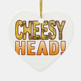 Head Blue Cheesy Ceramic Heart Decoration