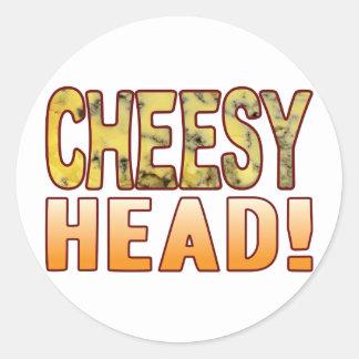 Head Blue Cheesy Round Sticker