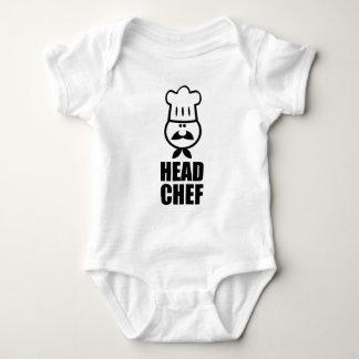 Head chef face & hat black design baby bodysuit