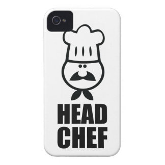 Head chef face & hat black design iPhone 4 cover