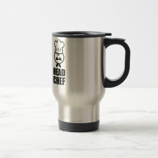Head chef face & hat black design stainless steel travel mug