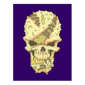 head disintegrating skull rot skull post card