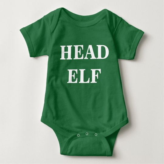"""Head Elf"" Christmas Bodysuite Baby Bodysuit"