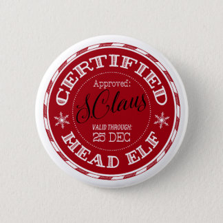 Head Elf | Christmas Seal of Approval 6 Cm Round Badge