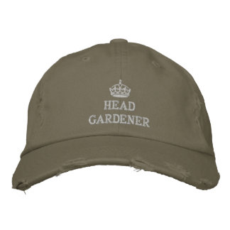 Head gardener with crown embroidered baseball caps