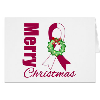 Head Neck Cancer Awareness Merry Christmas Ribbon Cards
