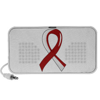 Head Neck Cancer Burgundy White Ribbon 3 Laptop Speakers