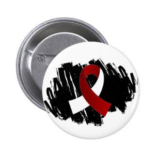 Head Neck Cancer Burgundy White Ribbon With Scribb 6 Cm Round Badge