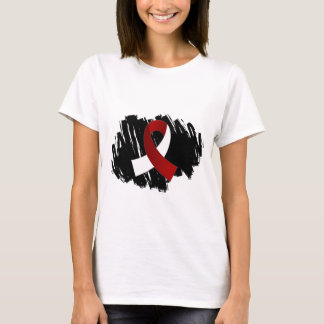 Head Neck Cancer Burgundy White Ribbon With Scribb T-Shirt