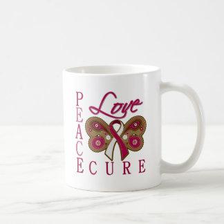 Head Neck Cancer Butterfly Peace Love Cure Basic White Mug