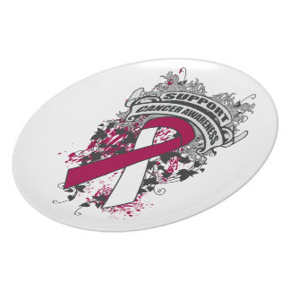 Head Neck Cancer - Cool Support Awareness Slogan Party Plates