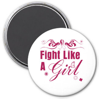 Head Neck Cancer Fight Like A Girl Ornate 7.5 Cm Round Magnet