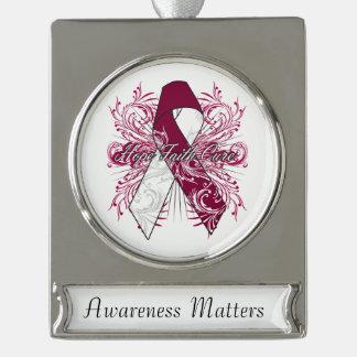 Head Neck Cancer Flourish Hope Faith Cure Silver Plated Banner Ornament